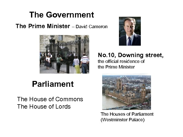 The Government The Prime Minister – David Cameron No. 10, Downing street, the official
