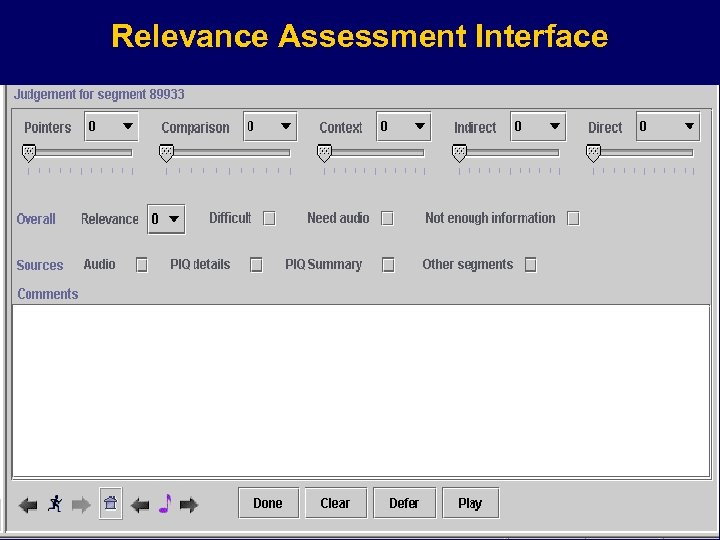 Relevance Assessment Interface