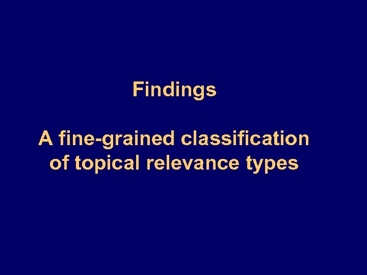 Findings A fine-grained classification of topical relevance types