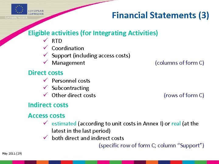 Financial Statements (3) Eligible activities (for Integrating Activities) ü ü RTD Coordination Support (including