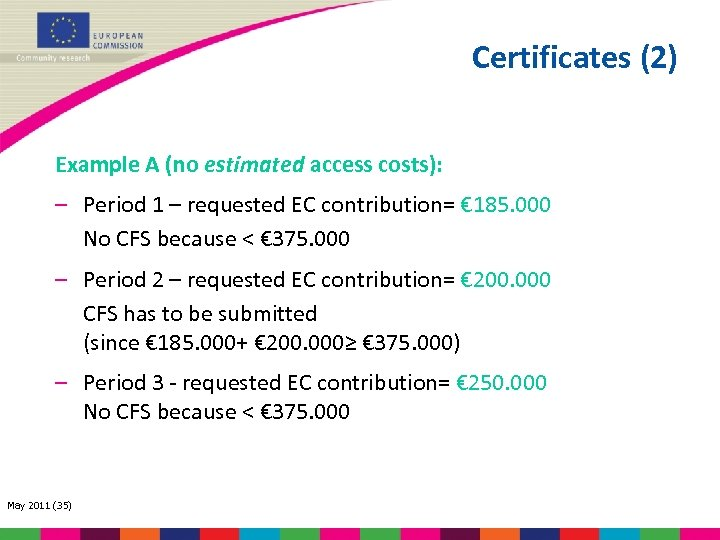 Certificates (2) Example A (no estimated access costs): – Period 1 – requested EC