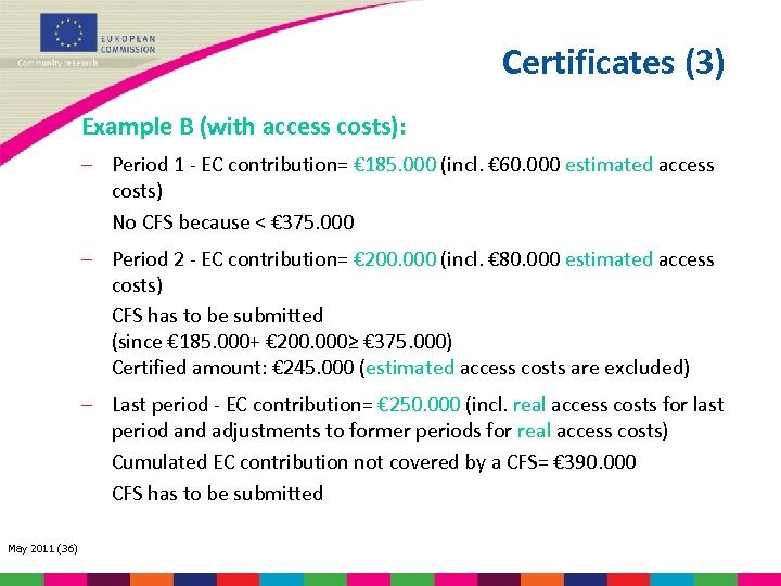 Certificates (3) Example B (with access costs): – Period 1 - EC contribution= €