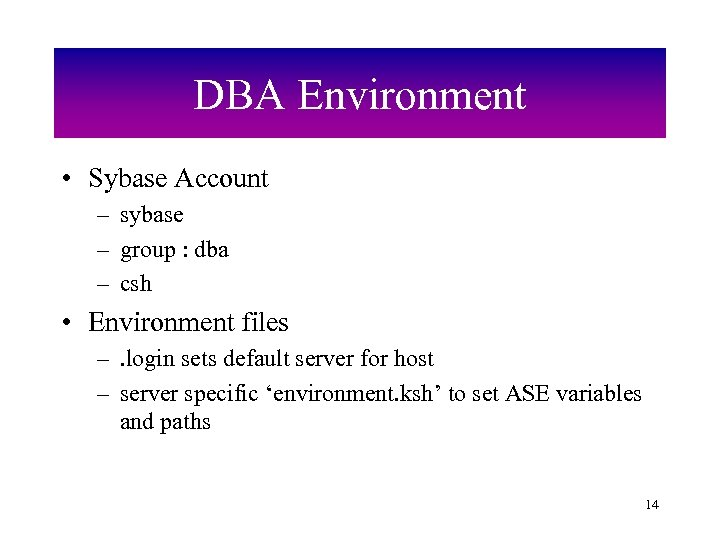 DBA Environment • Sybase Account – sybase – group : dba – csh •