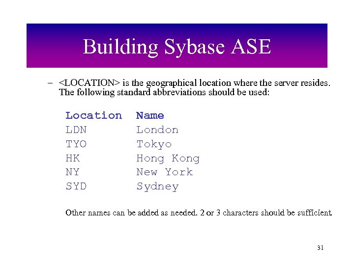 Building Sybase ASE – <LOCATION> is the geographical location where the server resides. The