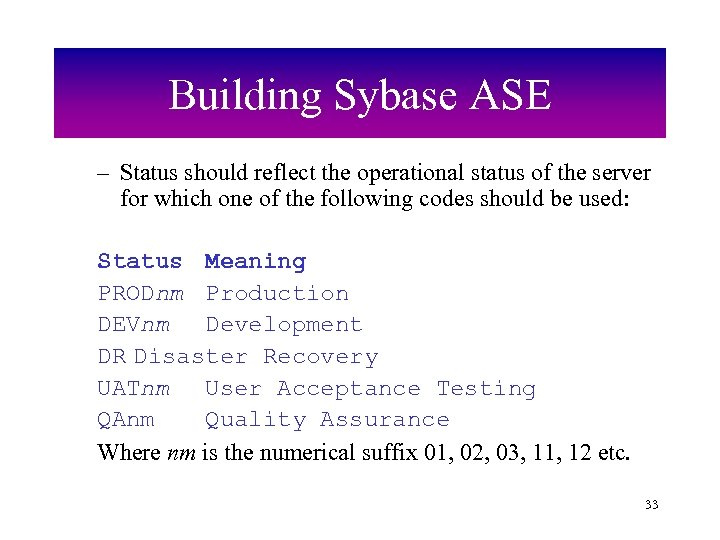 Building Sybase ASE – Status should reflect the operational status of the server for