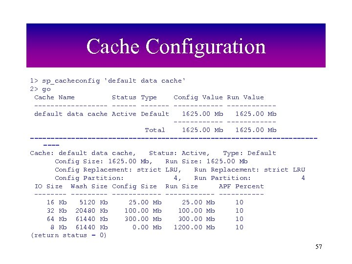 Cache Configuration 1> sp_cacheconfig 'default 2> go Cache Name Status ---------default data cache Active
