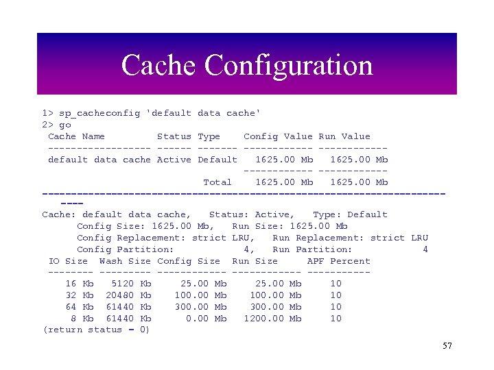 Cache Configuration 1> sp_cacheconfig 'default 2> go Cache Name Status ---------default data cache Active