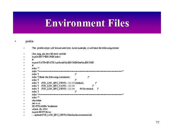Environment Files • . profile – The. profile script will be executed first. As