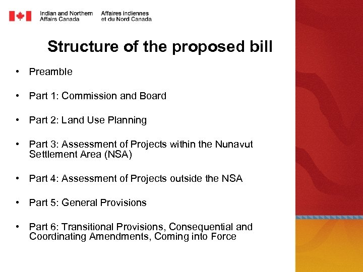 Structure of the proposed bill • Preamble • Part 1: Commission and Board •