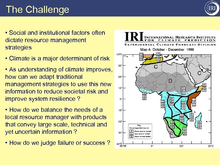 The Challenge • Social and institutional factors often dictate resource management strategies • Climate
