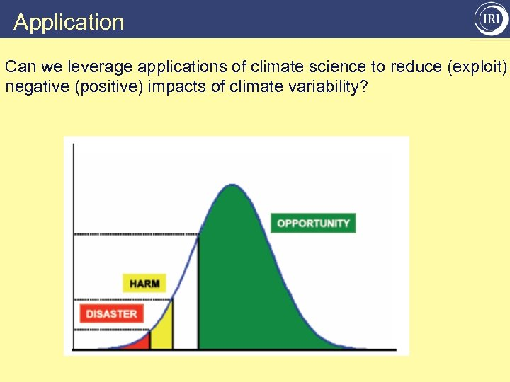 Application Can we leverage applications of climate science to reduce (exploit) negative (positive) impacts