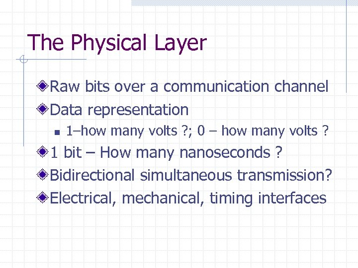The Physical Layer Raw bits over a communication channel Data representation n 1–how many