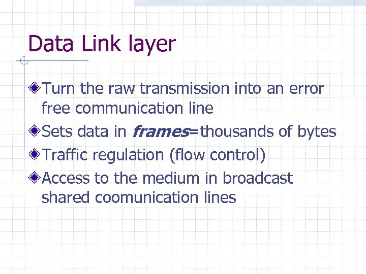Data Link layer Turn the raw transmission into an error free communication line Sets