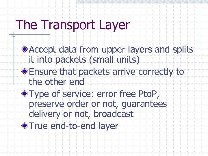 The Transport Layer Accept data from upper layers and splits it into packets (small
