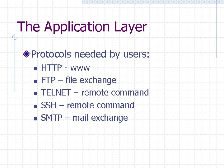 The Application Layer Protocols needed by users: n n n HTTP - www FTP
