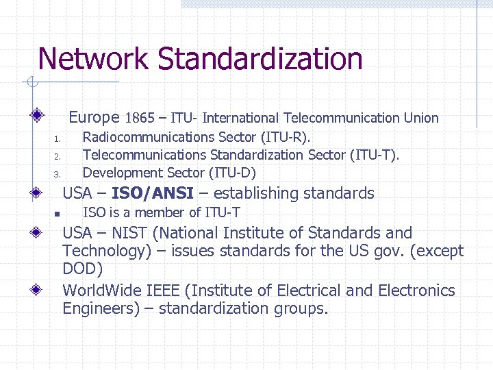 Network Standardization Europe 1865 – ITU- International Telecommunication Union 1. 2. 3. Radiocommunications Sector