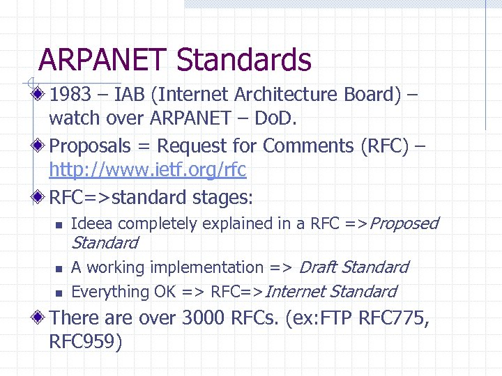 ARPANET Standards 1983 – IAB (Internet Architecture Board) – watch over ARPANET – Do.
