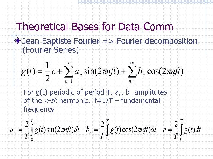 Theoretical Bases for Data Comm Jean Baptiste Fourier => Fourier decomposition (Fourier Series) For