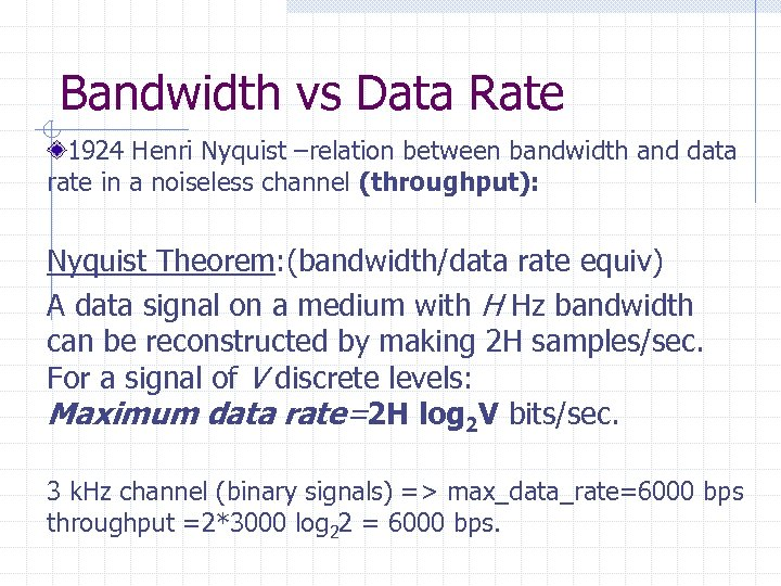 Bandwidth vs Data Rate 1924 Henri Nyquist –relation between bandwidth and data rate in
