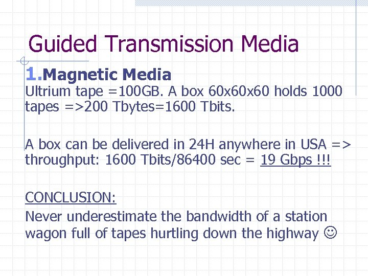 Guided Transmission Media 1. Magnetic Media Ultrium tape =100 GB. A box 60 x