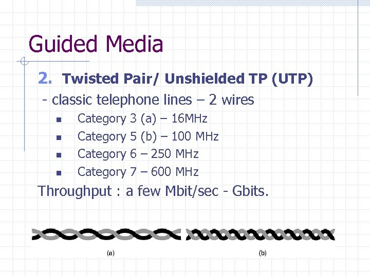 Guided Media 2. Twisted Pair/ Unshielded TP (UTP) - classic telephone lines – 2