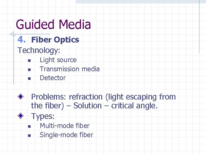 Guided Media 4. Fiber Optics Technology: n n n Light source Transmission media Detector