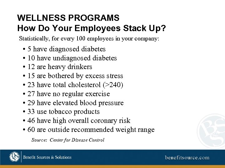 WELLNESS PROGRAMS How Do Your Employees Stack Up? Statistically, for every 100 employees in