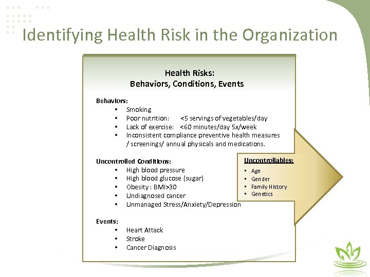 Identifying Health Risk in the Organization Health Risks: Behaviors, Conditions, Events Behaviors: • Smoking