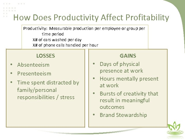 How Does Productivity Affect Profitability Productivity: Measurable production per employee or group per