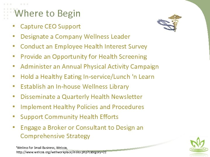 Where to Begin • • • Capture CEO Support Designate a Company Wellness Leader