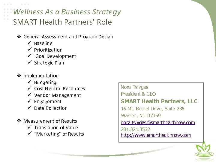 Wellness As a Business Strategy SMART Health Partners' Role v General Assessment and Program