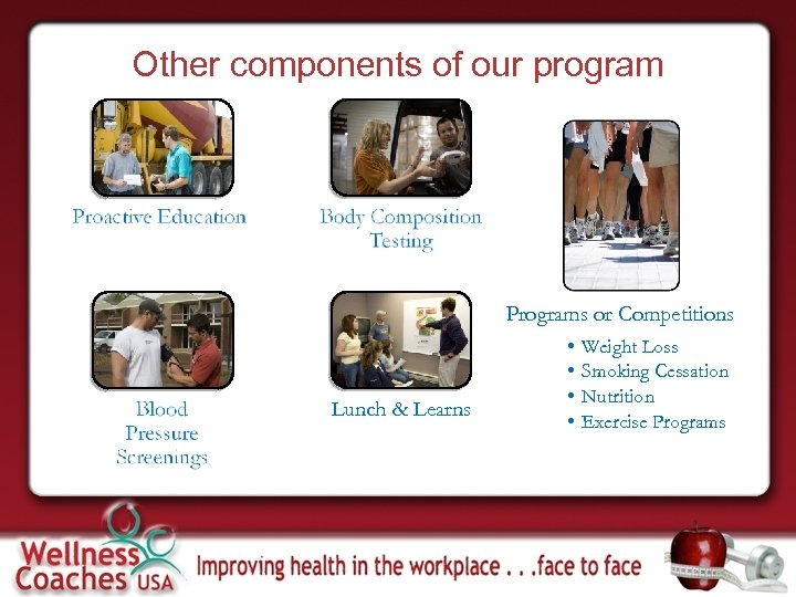 Other components of our program Programs or Competitions Lunch & Learns • • Weight