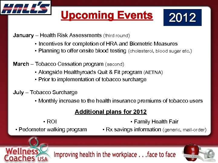 Upcoming Events 2012 January – Health Risk Assessments (third round) ▪ Incentives for completion