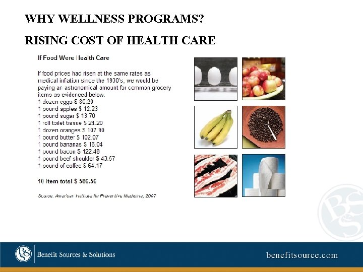 WHY WELLNESS PROGRAMS? RISING COST OF HEALTH CARE