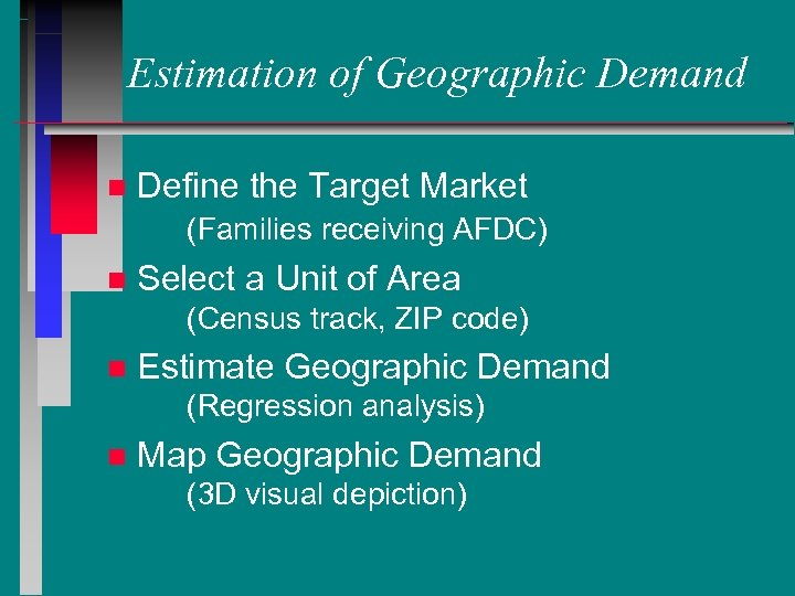 Estimation of Geographic Demand n Define the Target Market (Families receiving AFDC) n Select