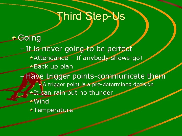 Third Step-Us Going – It is never going to be perfect Attendance – If