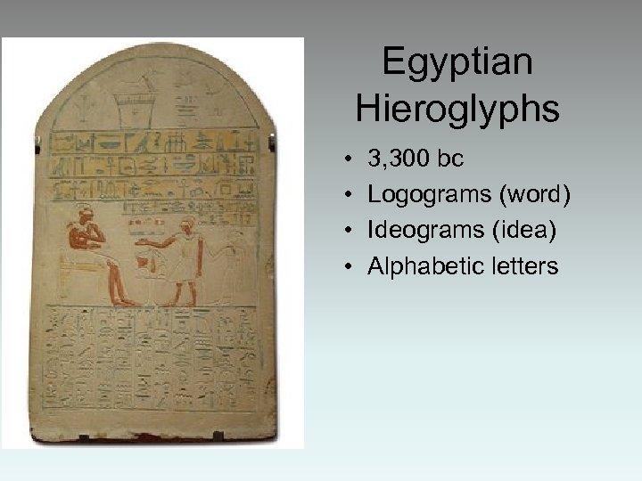 Egyptian Hieroglyphs • • 3, 300 bc Logograms (word) Ideograms (idea) Alphabetic letters