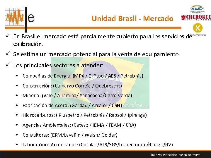 Unidad Brasil - Mercado ü En Brasil el mercado está parcialmente cubierto para los