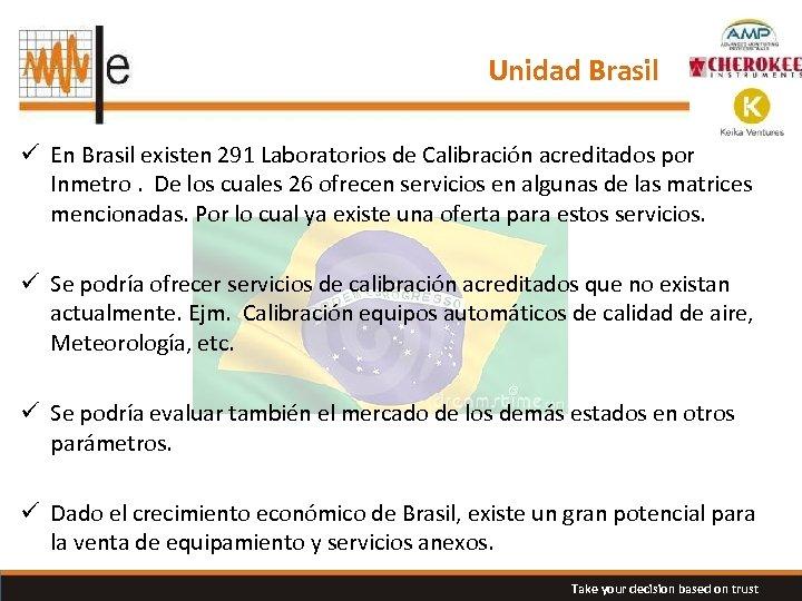 Unidad Brasil ü En Brasil existen 291 Laboratorios de Calibración acreditados por Inmetro. De