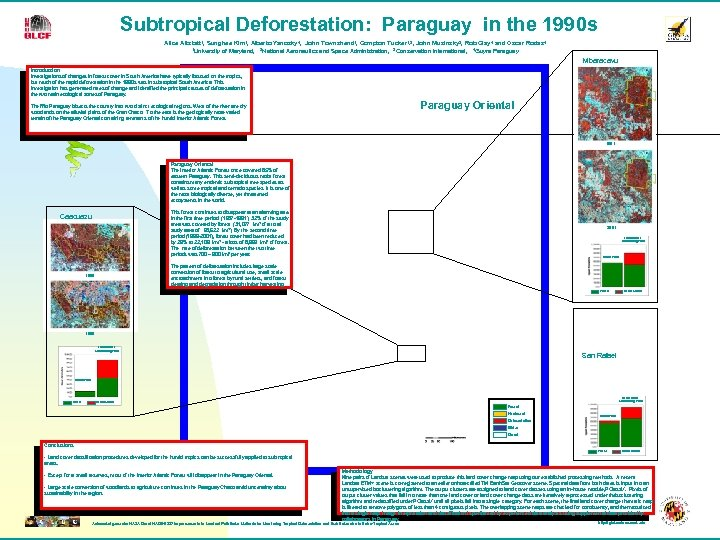 Subtropical Deforestation: Paraguay in the 1990 s Alice Altstatt 1, Sunghee Kim 1, Alberto