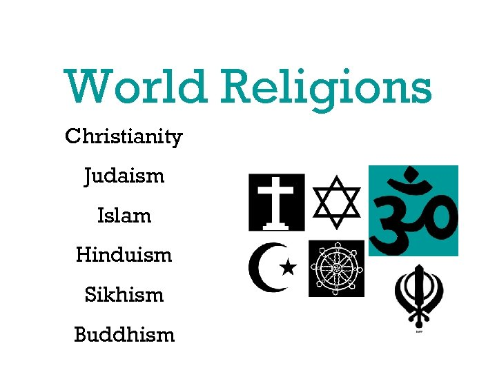 World Religions Christianity Judaism Islam Hinduism Sikhism Buddhism