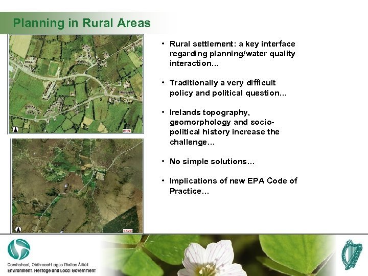 Planning in Rural Areas • Rural settlement: a key interface regarding planning/water quality interaction…