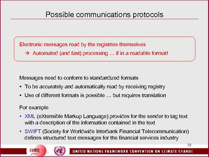 Possible communications protocols Electronic messages read by the registries themselves Automated (and fast) processing