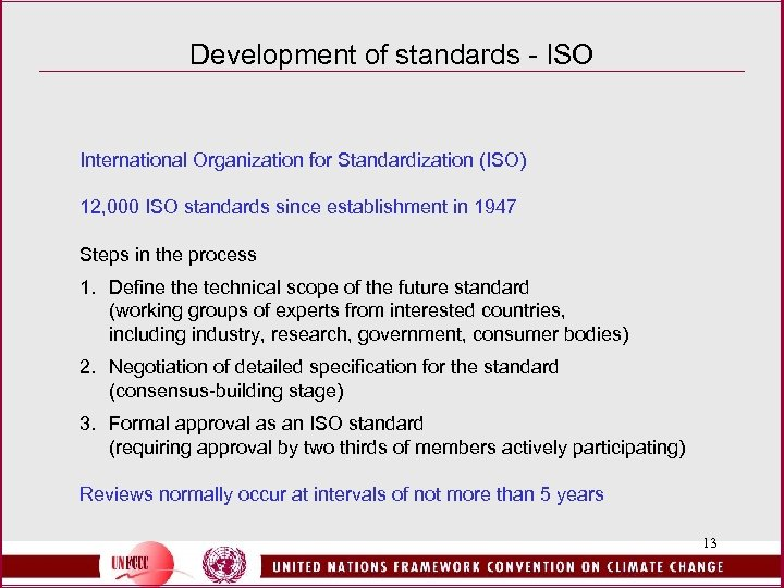 Development of standards - ISO International Organization for Standardization (ISO) 12, 000 ISO standards