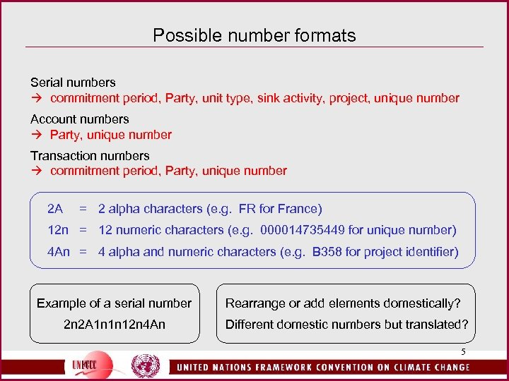 Possible number formats Serial numbers commitment period, Party, unit type, sink activity, project, unique