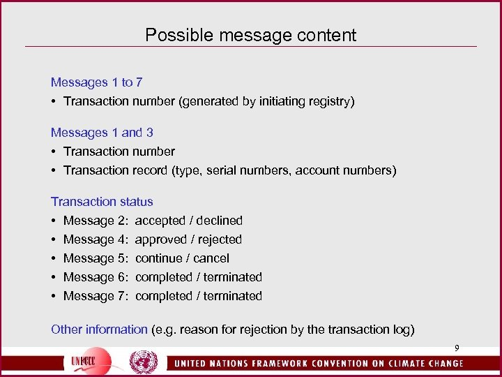 Possible message content Messages 1 to 7 • Transaction number (generated by initiating registry)