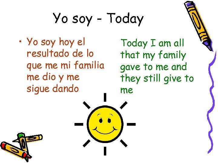 Yo soy - Today • Yo soy hoy el resultado de lo que me