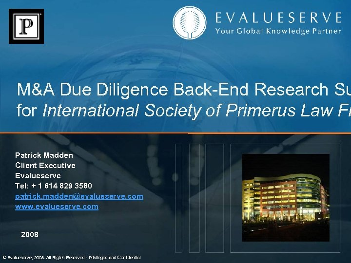 M&A Due Diligence Back-End Research Su for International Society of Primerus Law Fi Patrick
