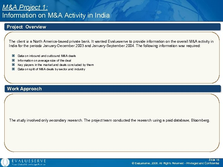 M&A Project 1: Information on M&A Activity in India Project Overview The client is