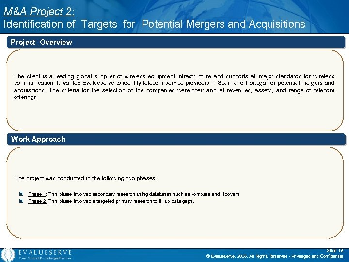 M&A Project 2: Identification of Targets for Potential Mergers and Acquisitions Project Overview The